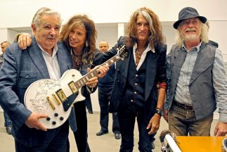 El presidente José Mujica disfrutó el encuentro con Aerosmith.