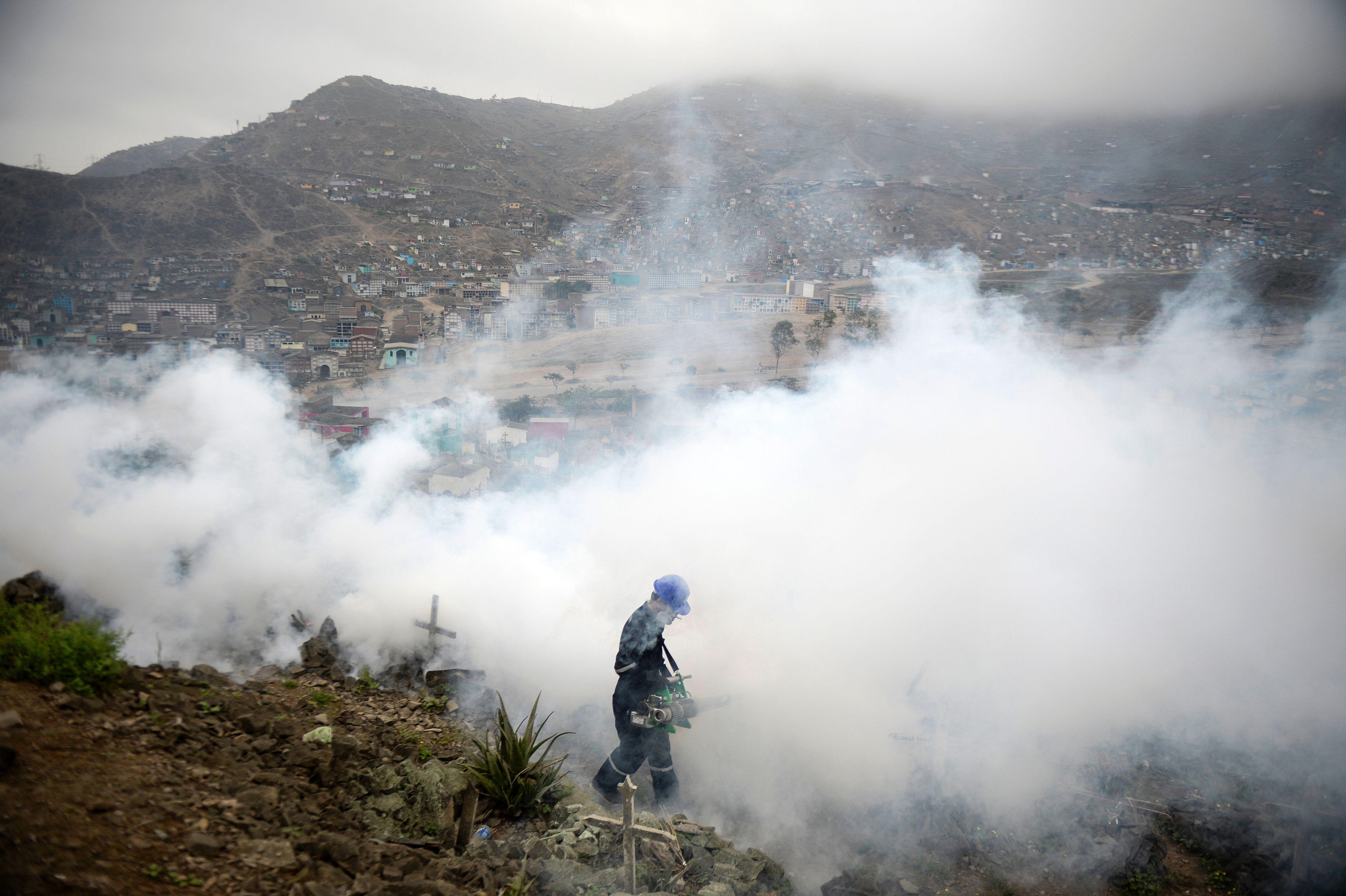 Fumigación en un cementerio de Lima, Perú, en busca de contener la propa...