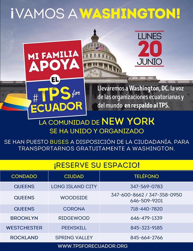 Ecuatorianos salen en caravana desde Nueva York a Washington DC para ped...