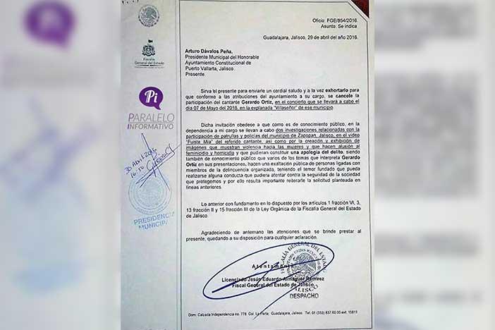 Piden cancelar concierto de Gerardo Ortiz