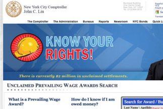 La página habilitada por la Contraloría de Nueva York para el reclamo de...