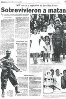 Un periódico evidencio la masacre. (Esta imagen es cortesía de Pro-Publi...