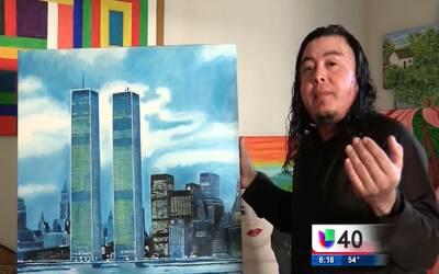 Un joven artista conmemora con una pintura a las víctimas del ataque a l...