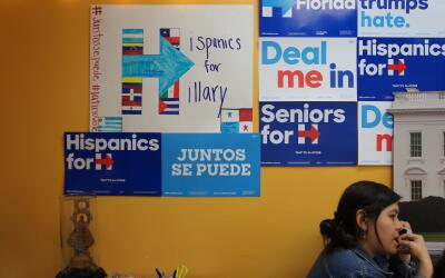 Volunteers make calls at a Hillary Clinton field office in Little Havana...