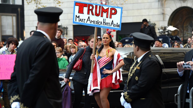 Protesta en Nueva York contra Trump