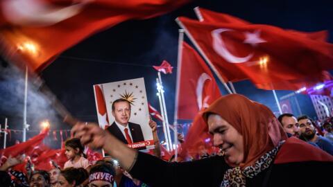 Una manifestación a favor del presidente Erdogan en Estambul.