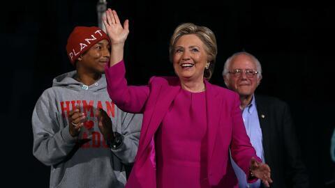 Recording artist Pharrell Williams, Democratic presidential nominee Hill...