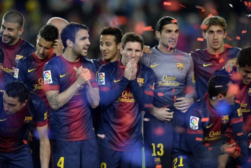 Todo el plantel barcelonista esperaba el momento de festejar.