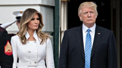 Melania Trump acompañó a su marido para recibir a Netanyahu y su esposa.