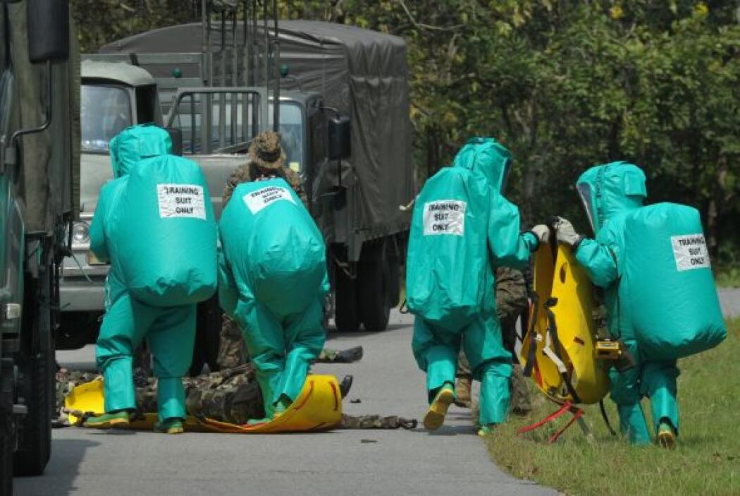 Marines de EEUU participan en el simulacro de un ataque químico, biológi...