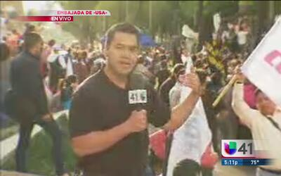 Protestas en la ciudad de México por la toma de posesión de Donald Trump