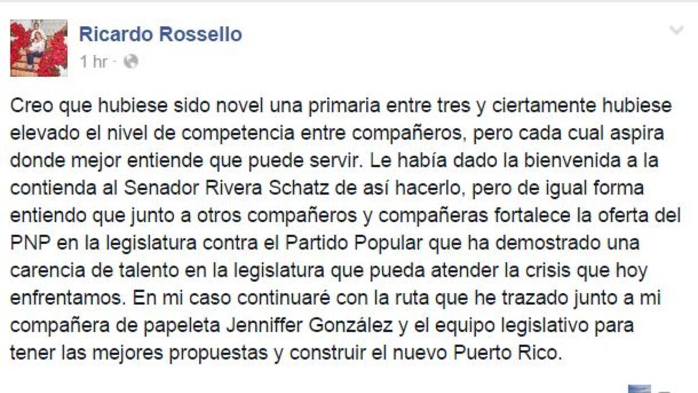 Reacciona Rosselló  a candidatura de Rivera Schatz