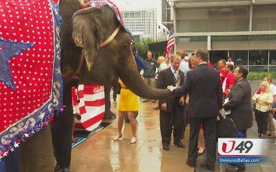 Con elefantes recibieron a republicanos