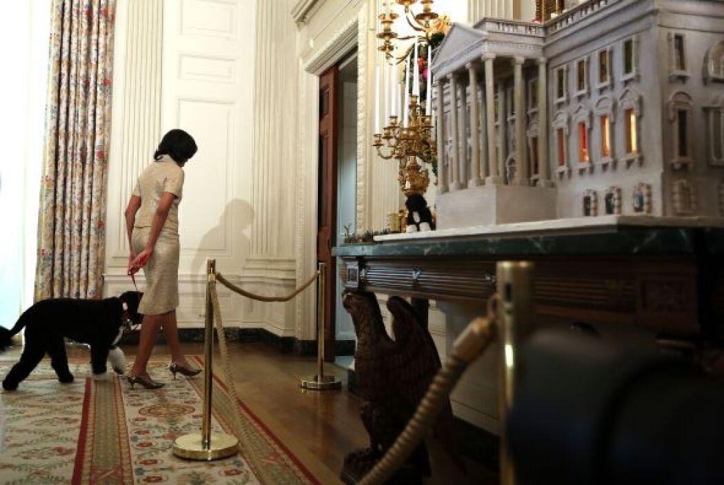 Durante el festejo, Bo, la popular mascota de los Obama también hizo act...