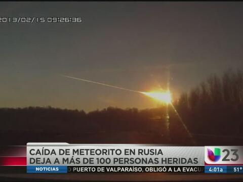 El meteorito cruzó el cielo y explotó sobre el centro de R...