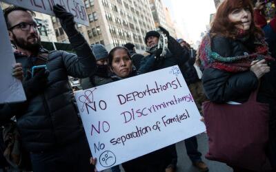 Marcha en contra de las deportaciones, en Nueva York.