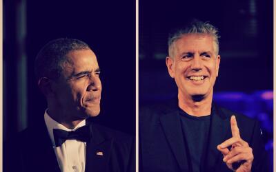 El Presidente norteamericano Barack Obama y el chef Anthony Bourdain.