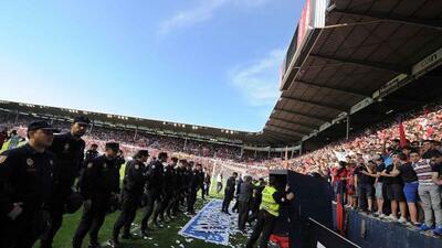 Imagen de la zona de gradas en el estadio El Sadar que se vino abajo lue...