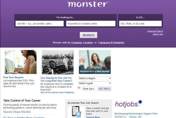 Monster: Es el gran 'abuelo' de los buscadores de empleo en línea desde...