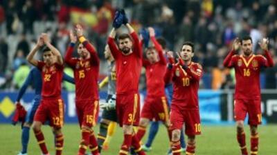 Equipo de España luego de su victoria sobre Francia