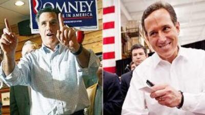 Los aspirantes Mitt Romney y Rick Santorum llevan la delantera en la car...