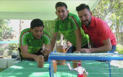 Chicharito, Layun, Vela y hasta Osorio se sumaron al reto del futbolito...