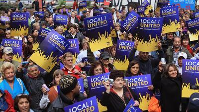Trabajadores del SEIU durante una protesta en Chicago, Illinois.