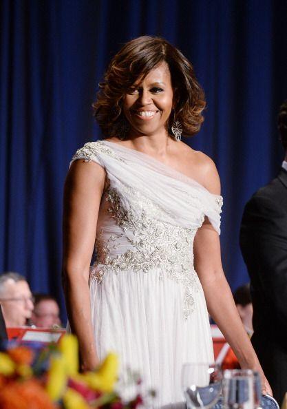 Michelle, por su parte, vistió un diseño de la firma March...