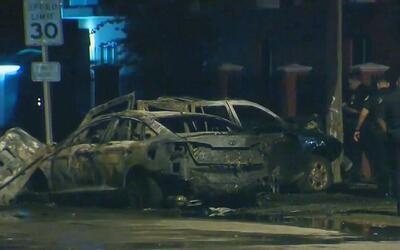 Dos vehículos terminaron en llamas tras chocar en el noroeste de Miami