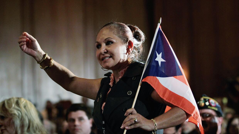 Puertorriqueña en evento republicano en Miami en la campaña 2012