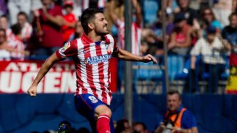 David Villa hizo el primero del Atlético de Madrid.