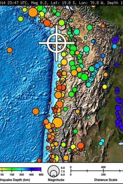 El sismo ocurrió cerca de la frontera de Chile con Perú a las 20:46 hora...
