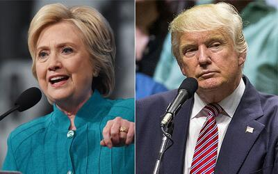 Los candidatos a la presidencia de EEUU Hillary Clinton (demócrat...