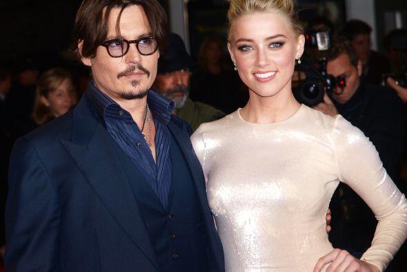 Johnny y Amber durante la premiere de 'The Rum Diary' en Europa, el 3 de...