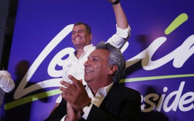 El candidato izquierdista Lenín Moreno durante la jornada electoral
