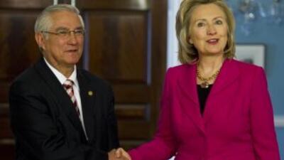 Haroldo Rodas, el canciller de Guatemala y la secretaria de Estado de E...