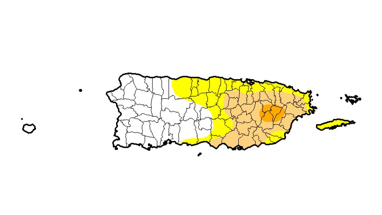 Este mapa muestra la sequía que afecta a la Isla.