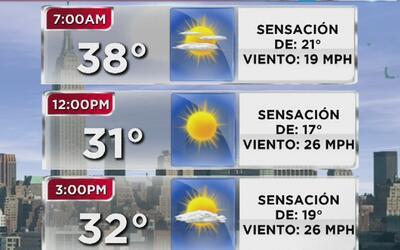 Vuelve el frío y el fuerte viento este miércoles a Nueva York