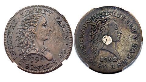 El llamado 'Centavo del Abedul' (izq) y el 'centavo del centro de plata'...