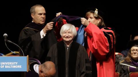 La presidenta de la Reserva Federal, Janet Yellen, en la Universidad de...