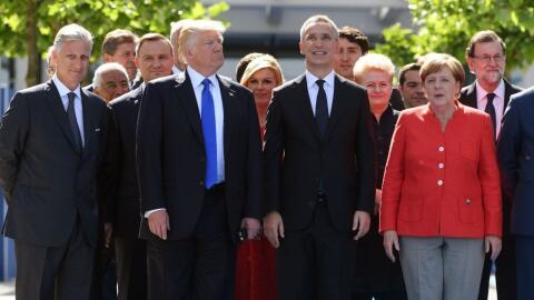 Trump dio un corto discurso frente a la nueva sede de la OTAN y critic&o...
