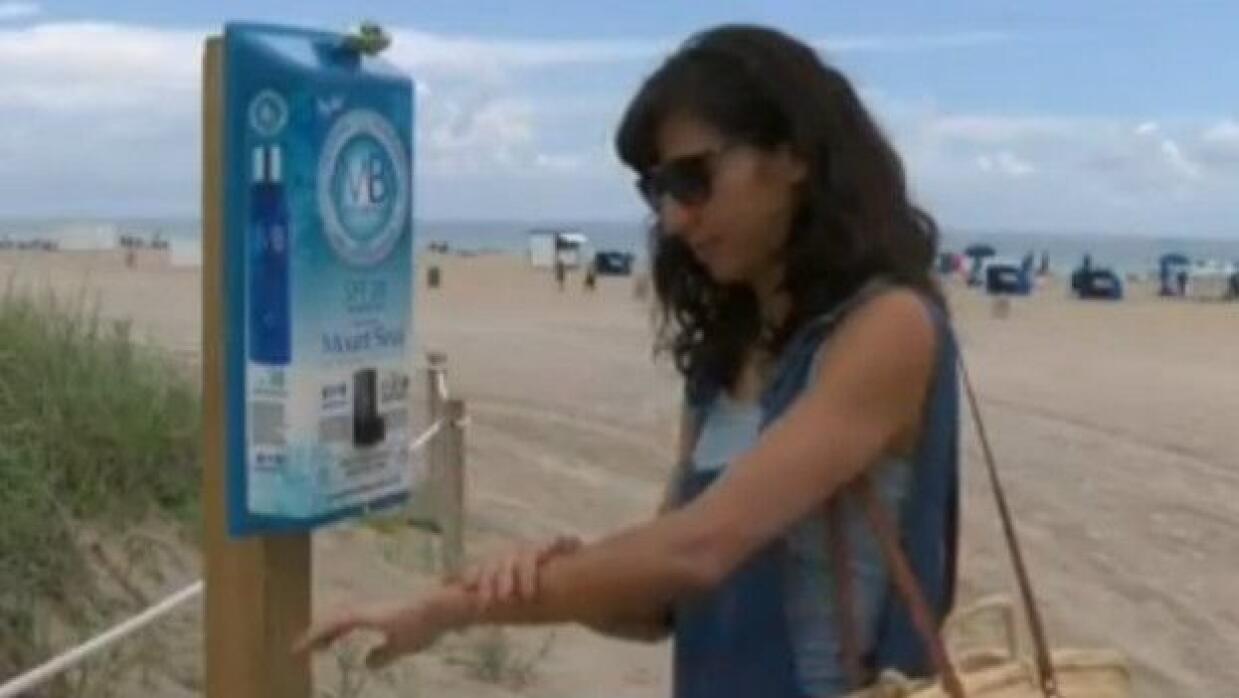 Dispensadores de protector solar en Miami Beach