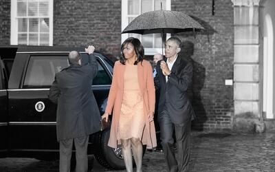 Así lució Michelle Obama en su reciente viaje al Palacio de Kensington.