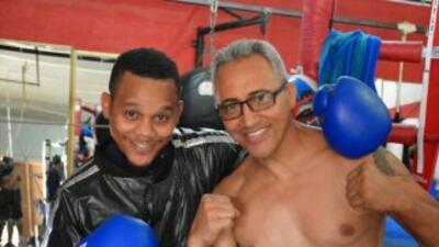 Luis Franco y su entrenador Jorge Rubio.