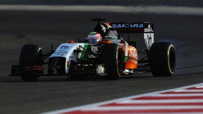 Con Force India durante el primer día de las pruebas de invierno de la F...