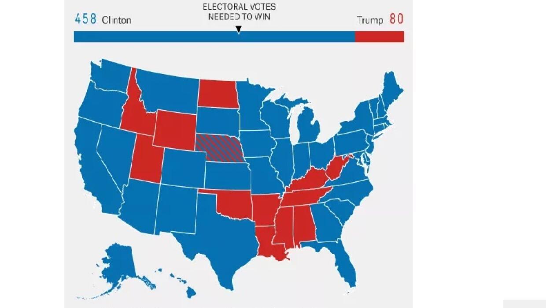 El mapa de FiveThirtyEight que muestra cómo serían las elecciones si sol...