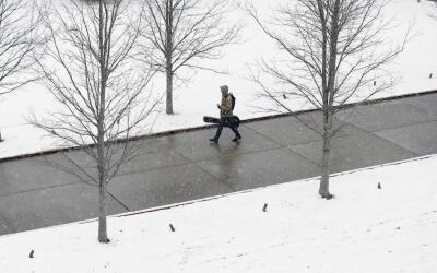 Nashville. El campus de la universidad cubierto de blanco