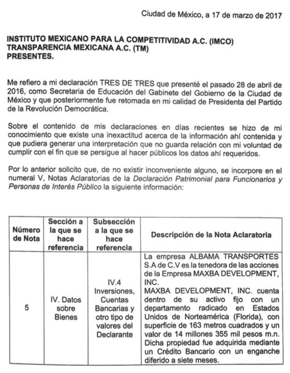 Después de la entrevista con Univision, la líder del PRD en México añadi...