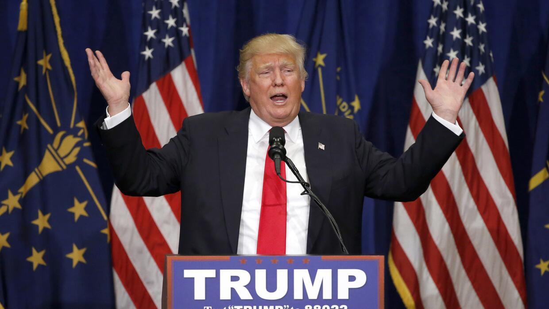 Donald Trump en un evento de campaña en South Bend, Indiana el 2...