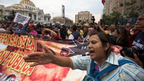 Marcha de la CNTE contra la reforma educativa en la Ciudad de Méx...